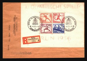 Germany SC# B92 On Registered Cover / Olympics CDS - Z17094