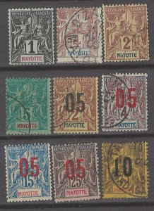 COLLECTION LOT # 3007 MAYOTTE 9 STAMPS 1892+ CV+$21
