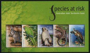 Australia 3131 MNH Endangered Species, Wallaby, Green Parrot, Fur Seal, Turtle