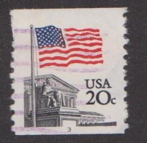 US #1895 Supreme Court Flag Used PNC Single plate #3 purple cancel