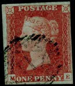SG8, 1d red-brown PLATE 69, USED. Cat £30. ME