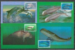 THAILAND STAMPS 1998, SET OF 4 MAXI CARDS MC MAXIMUM CARDS OCEAN YEAR
