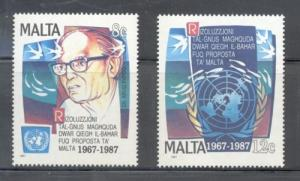Malta Sc 707-8 1987 UN Sea Resolution stamp set mint NH