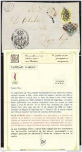 O) 1858 PUERTO RICO -ANTILLAS, PLICA JUDICIAL FRANQUEADA-GREAT RARE-OVAL CANCELL