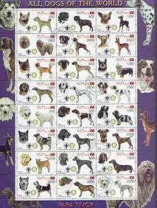 Timor (East) 2000 Dogs #02 perf sheetlet containing 24 va...