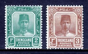 MALAYA (TRENGGANU) — SCOTT 21,23 (SG 27,29) — 1921-38 SULTAN — MH — SCV $34.25