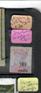 SEYCHELLES (PP2612B)  QV 90C/96C SG 20   MOG ANTIQUE OVER 100 YEARS OLD