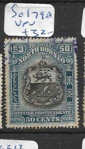 NORTH BORNEO  (P2705B) 50C ARMS , LION SG 179A   VFU