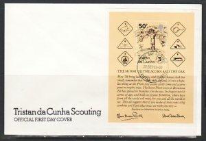 Tristan da Cunha, Scott cat. 317. Scouts  Anniversary s/sht. First day cover. ^