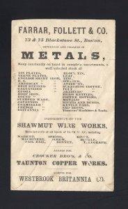 MASSACHUSETTS: Boston 1860's U58 ALL OVER BACK - METALS/COPPER WORKS
