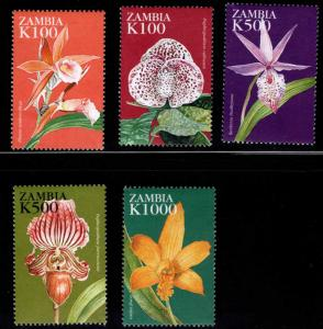 Zambia Scott 756-760 MNH** 1998 Flower, Orchid stamps