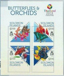 1388 - SOLOMON ISLANDS - ERROR 2013 MISSPERF SHEET: Butterflies, Orchids Insects