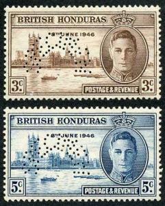 British Honduras SG162s/3s 1946 Victory Set Perf SPECIMEN M/M (tropicalized gum)