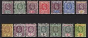 ST.LUCIA SG64/77 1904-10 WMK MULT CROWN CA SET MTD MINT