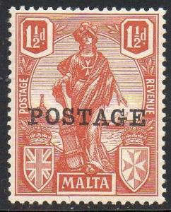 Malta 1926 1½d brown-red MH
