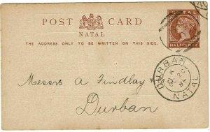 Natal POA 38 (Elizabeth, 1896-1901) cancel on postal card to Durban