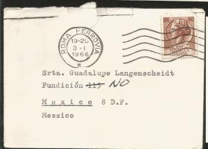 A) 1966 ITALY, TURRITA PROFILE STAMP, ROME, AIRMAIL, CIRCULATED COVER FROM ITALY