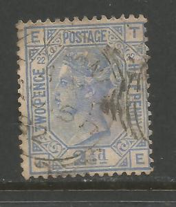 GREAT BRITAIN 82 VFU PLATE 22 647B-1