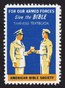 POSTER STAMP ⭐ GIVE THE BIBLE ⭐ AMERICAN BIBLE SOCIETY ⭐ ARMED FORCES