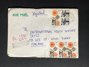 India Registered Cover to Finland City Cancel (1980s-1990s) Cover #1847