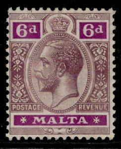MALTA GV SG80, 6d dull & bright purple, LH MINT. Cat £11.