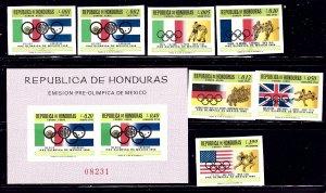 Honduras C429-35a MNH 1968 Olympics Imperf Set    (ap1138)