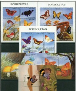 Angola 1998 butterflies insects 3klb+3s/s MNH