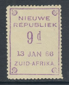New Republic Sc 6 var, SG 7, MLH 1886 9p violet on yellow, 13 JAN 86 date