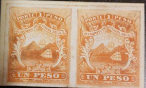 A) 1863, COSTA RICA, YELLOW COLOR PROOF ON YELLOW CARDBOARD