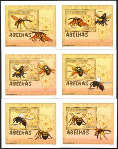 {126} Mozambique 2007 Insects Honeybees 6 S/S Deluxe MNH**