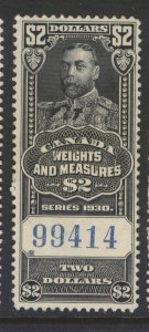 CANADA REVENUE FWM69 1930 $2.00 FEDERAL WEIGHTS & MEASURES USED