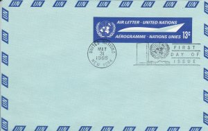 United Nations - New York # UC7, Aerogramme, First Day Cancel, 1/2 Cat.