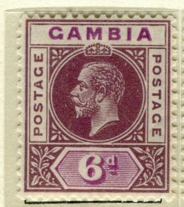 GAMBIA; 1921 early GV issue fine Mint hinged 6d. value