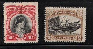 COOK ISLANDS Scott # 91-2 MH - Captain Cook & Double Canoe 1