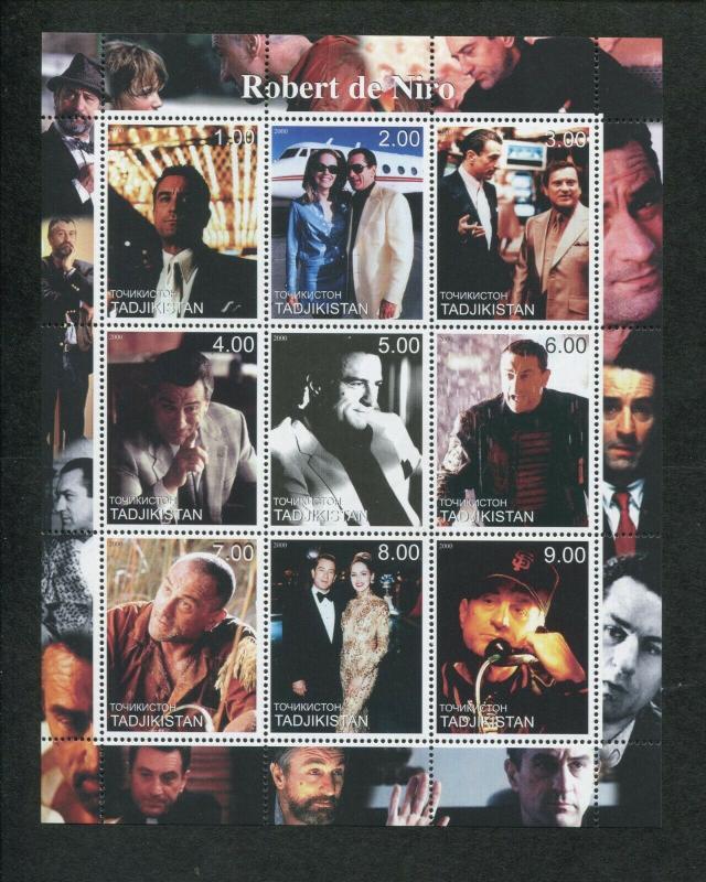 2000 Tajikistan Commemorative Souvenir Stamp Sheet - Actor Robert de Niro