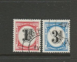South West Africa 1960 Postage Due pair FU SG D55/6