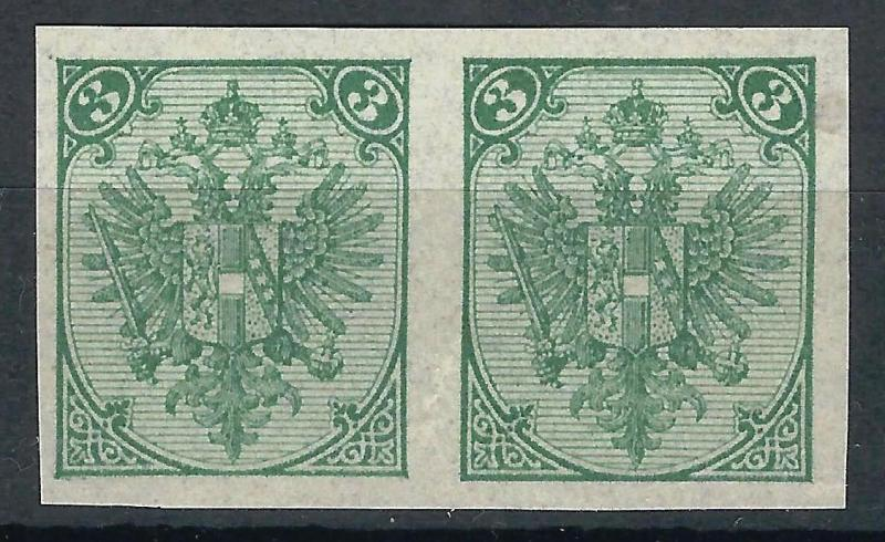 OLD AUSTRIA BOSNIA II PLATE Buchdruck PROOF MINT 3kr PAIR PERFECT ATTRACTIVE