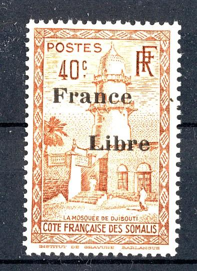 FRENCH SOMALI COAST 1943 #205 40c MNH, OVPT. FRANCE LIBRE