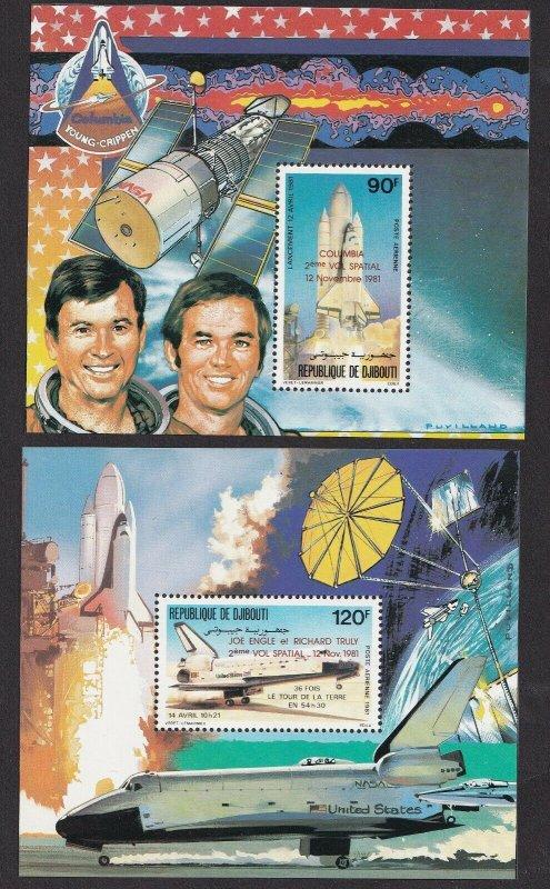 1981  DJIBOUTI - SG:829/30 OVERPRINTED SHEETLETS COLUMBIA SPACE SHUTTLE - UMM