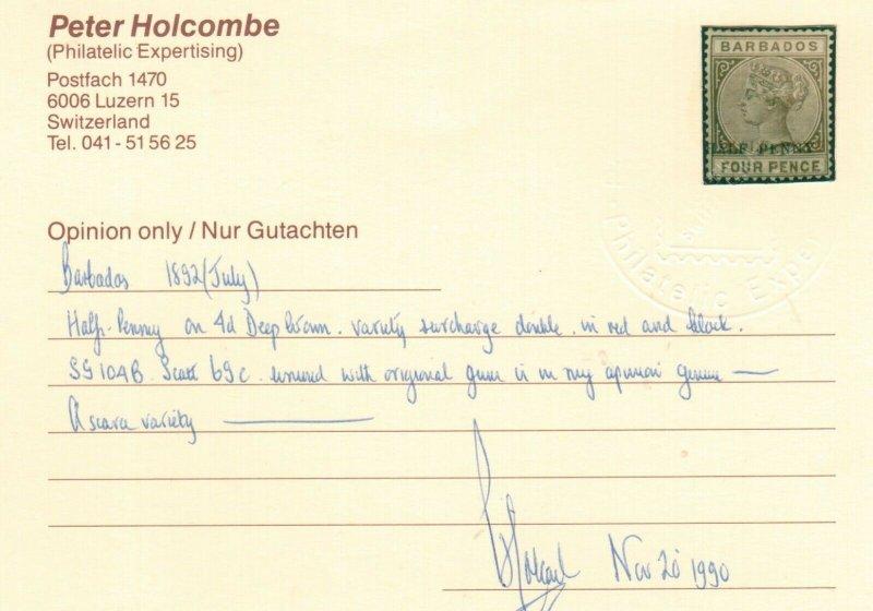 Barbados #69c (SG #104b) Mint Fine Full Original Gum Hinged **With Certificate**