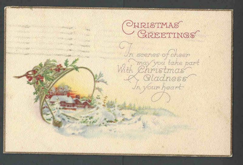 1925 PPC* Xmas Seal #WX35 On Back Of Xmas Card Untied