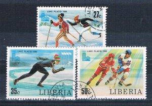 Liberia 870-72 Used Lake Placid 1980 (MV0221)+