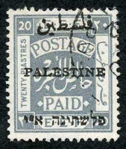 Palestine SG57 1921 20p pale grey type 6a opt fine used with part cds