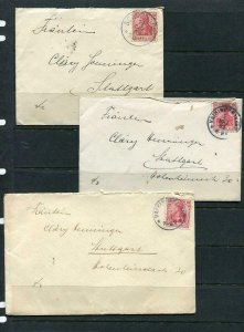 Germany 1905 3 Covers Stuttgard 10pf g491s