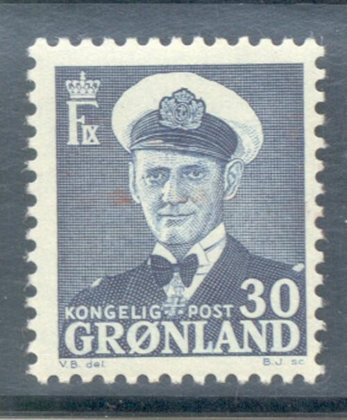 Greenland Sc 33 1953 30 ore Frederik IX stamp mint