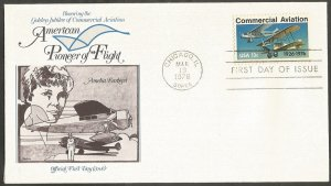 US FDC.1976 COMMERCIAL AVIATION 13C STAMP. PIONEER OF FLIGHT-AMELIA EARHART