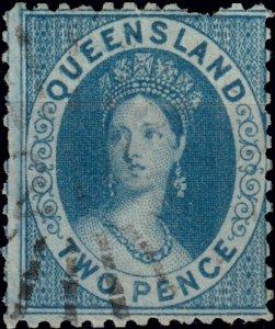 AUSTRALIA / QUEENSLAND - 1876/78 SG99 2d bright blue p.12 - fine (short perf)