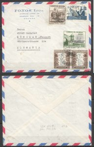 A0542 1959 COLOMBIA TO GERMANY ARCHITECTURE SHIPS MAPS !! AIR MAIL VERY RARE FDC