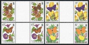 Turks & Caicos 507-510 gutter,MNH.Michel 574-577. Butterflies,Flowers.1982.