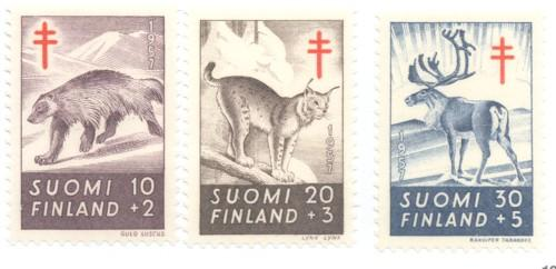 Finland Sc B142-4 1957  Wild Animals TB  stamps mint NH